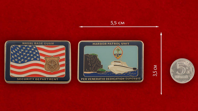 Челлендж коин Отдела безопасности базы ВМС США на Гуаме - сравнительный размер