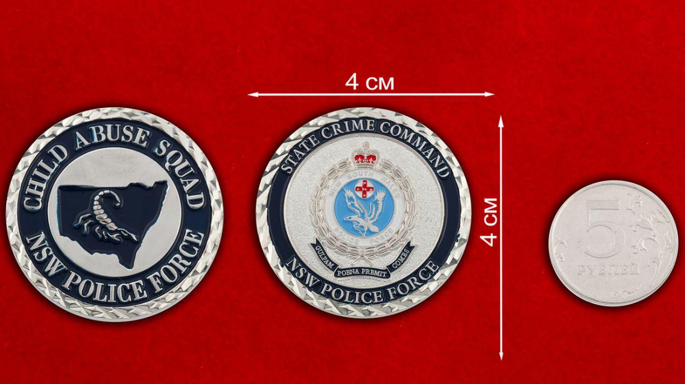 Челлендж коин Отдела по борьбе с жестоким обращением с детьми полиции Нового Южного Уэльса (Австралия) - сравнительный размер