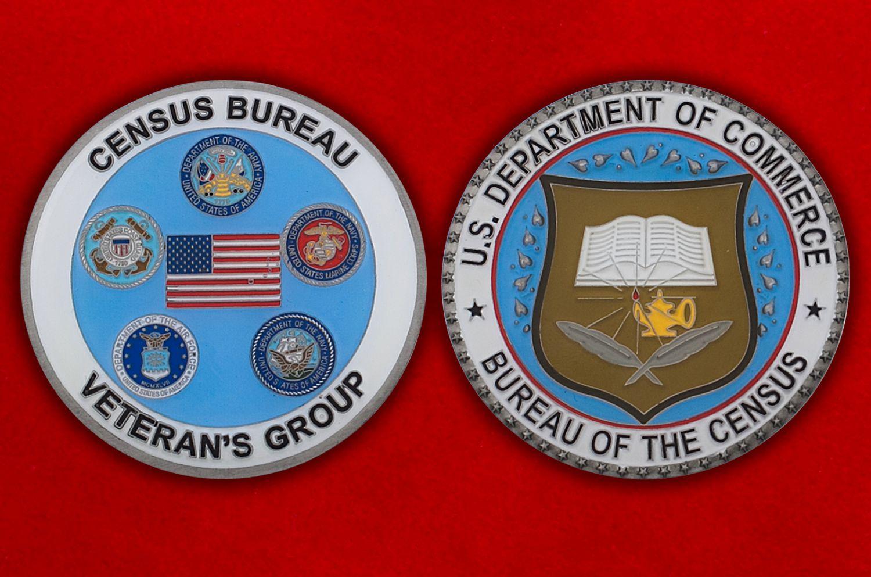 Челлендж коин Отдела ветеранов ВС Бюро переписи населения США - аверс и реверс