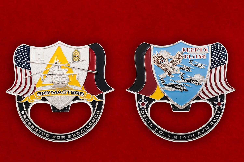 """Челлендж коин -открывалка """"1-й батальон 214-го авиационного полка армейской авиации США"""" - аверс и реверс"""
