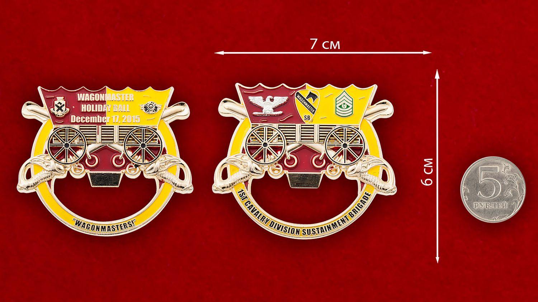 """Челлендж коин-открывалка """"1-ый кавалерийский дивизион 15-й бригады технического обслуживания"""" - сравнительный размер"""