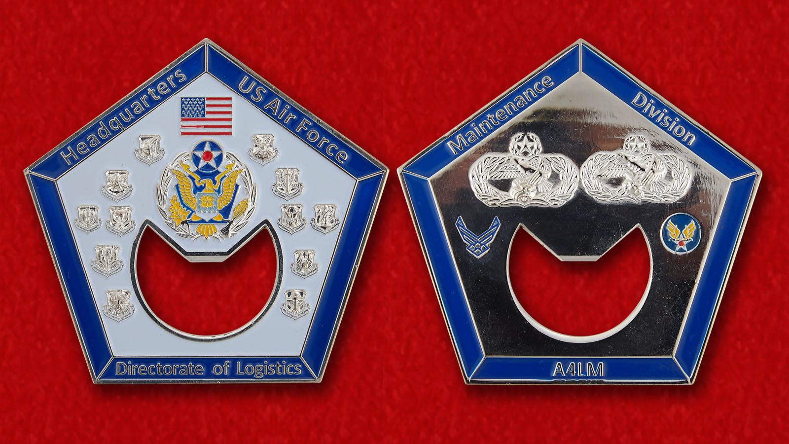 Челлендж коин-открывалка Управления снабжения при Штаб-квартире ВВС США - аверс и реверс