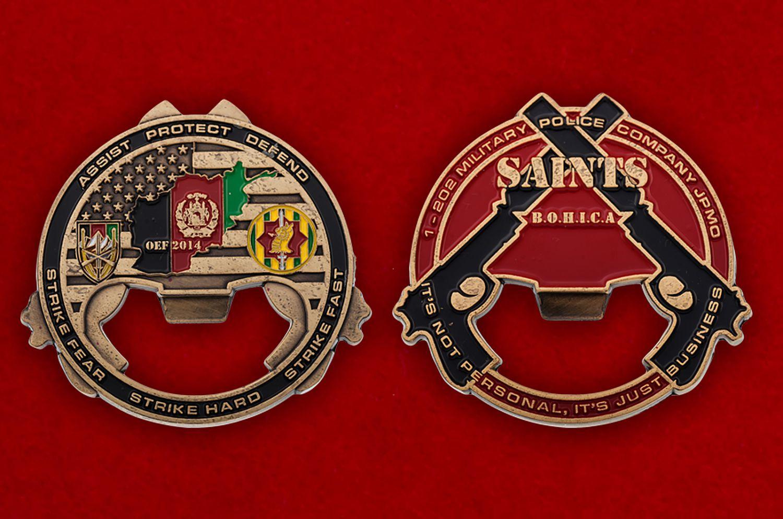 """Челлендж коин-открывашка """"1-му взводу 202-й роты Военной полиции Армии США за операцию Несокрушимая свобода"""" - аверс и реверс"""
