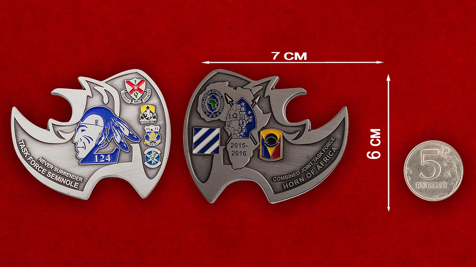 """Челлендж коин-открывашка """"124-я Оперативная тактическая група Сименолы"""" - сравнительный размер"""