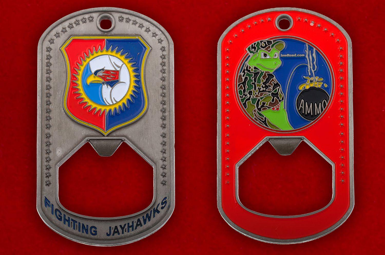 Челлендж коин-открывашка 184-го разведывательного крыла ВВС Нацгвардии США - аверс и реверс