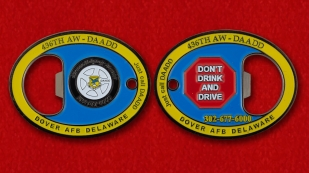 "Challenge Coin - opener ""436th Airlift Wing"" = obverse and reverse"