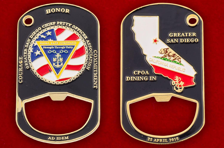 "Челлендж коин-открывашка ""База ВМС США Коронадо"" - аверс и реверс"