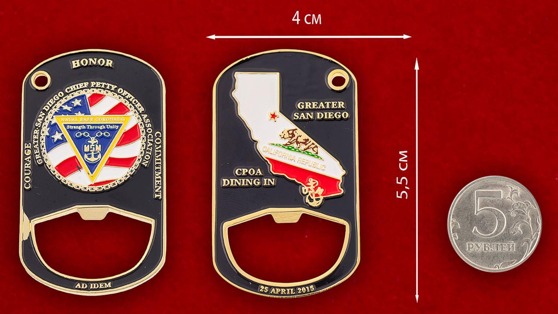 """Челлендж коин-открывашка """"База ВМС США Коронадо"""" - сравнительный размер"""