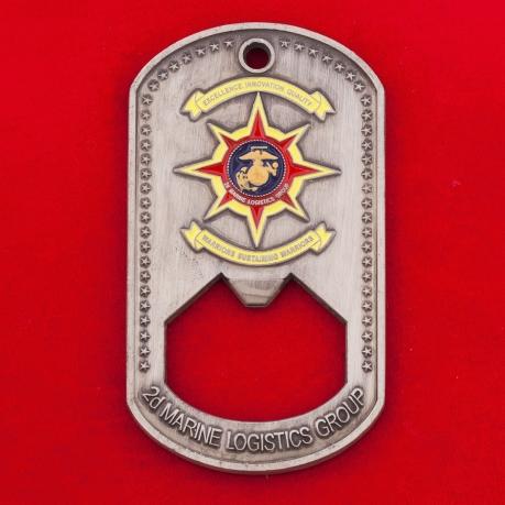Челлендж коин-открывашка от командира 2-й группы материально-технического обеспечения Корпуса морской пехоты ВС США