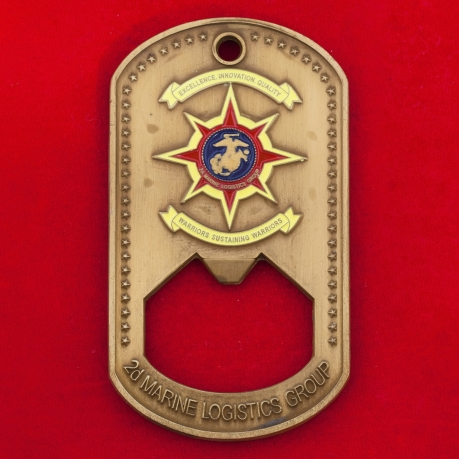 Челлендж коин-открывашка от сержант-майора 2-й группы материально-технического обеспечения Корпуса морской пехоты ВС США