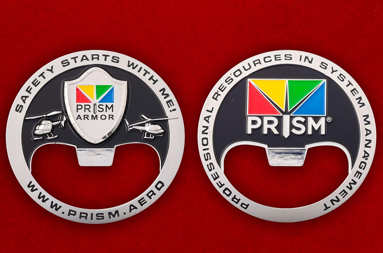 """Челлендж коин-открывашка """"Страховая компания Prism"""" - аверс и реверс"""