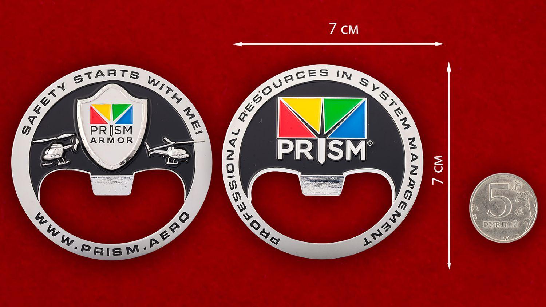 """Челлендж коин-открывашка """"Страховая компания Prism"""" - сравнительный размер"""