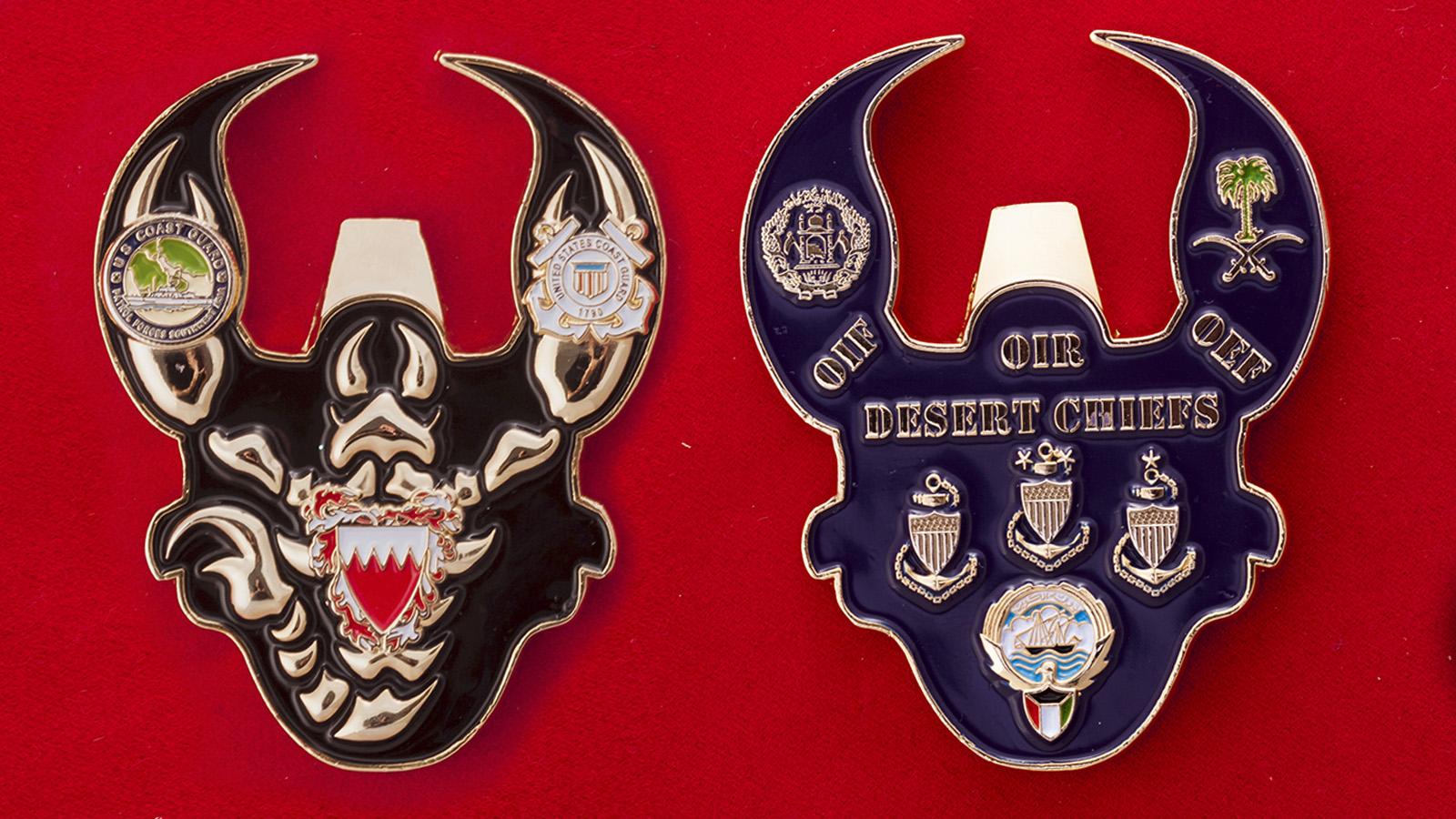 """Челлендж коин соединения Береговой охраны США в Бахрейне """"Desert Chiefs"""" - аверс и реверс"""