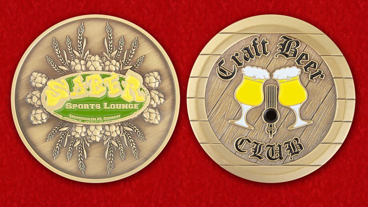 """Челлендж коин """"Пивной бар Craft Beer авиабазы Шпангхалем, Германия"""" - аверс и реверс"""