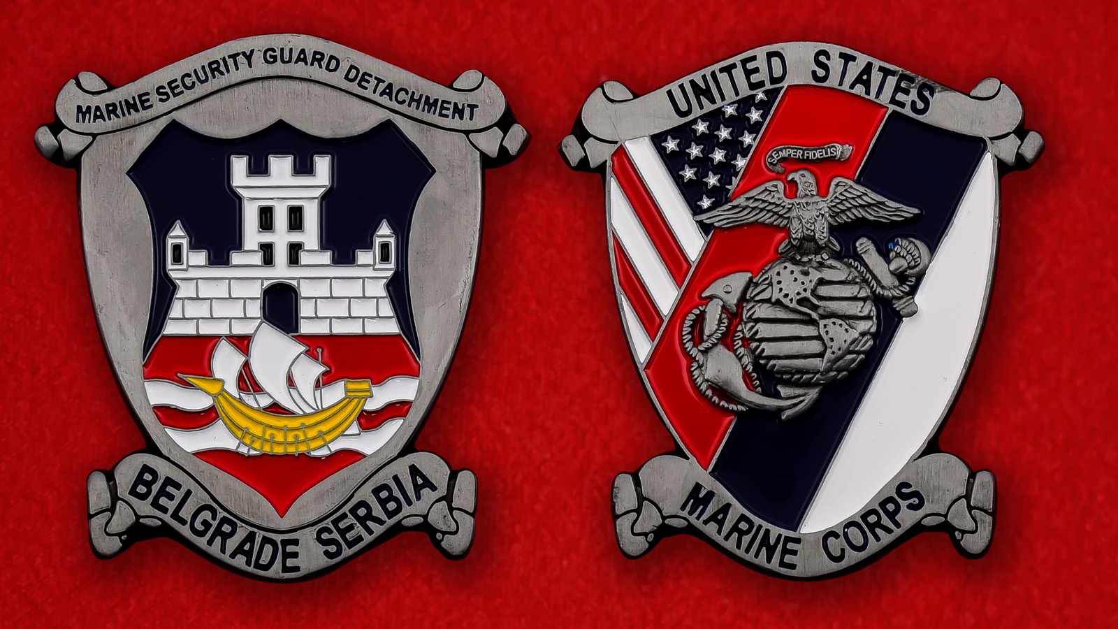 """Челлендж коин """"Подразделение Корпуса морской пехоты США в Белграде, Сербия"""""""