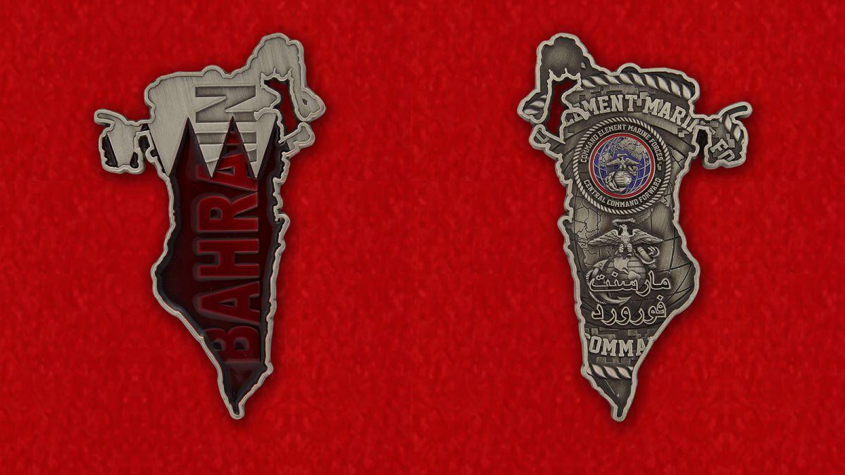 Челлендж коин подразделения оперативного управления командования Корпуса морской пехоты США в Бахрейне - аверс и реверс