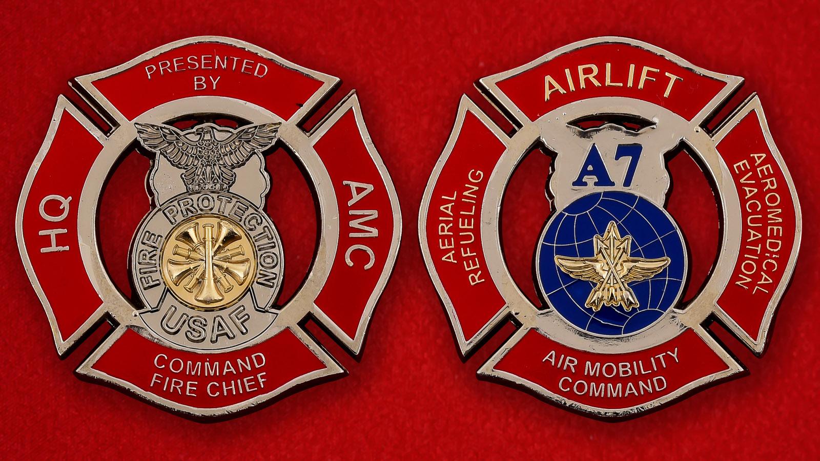 Челлендж коин подразделения противопожарной безопасности воздушных перевозок Командования аэромобильности ВВС США