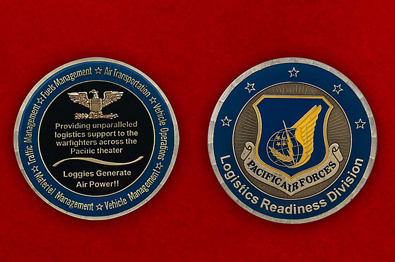 Челлендж коин подразделения снабжения ВВС США в зоне Тихого океана - аверс и реверс