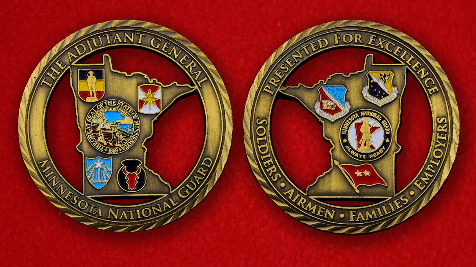 """Челлендж коин """"Подразделению Национальной гвардии США в Миннесоте от генерал-адъютанта"""""""