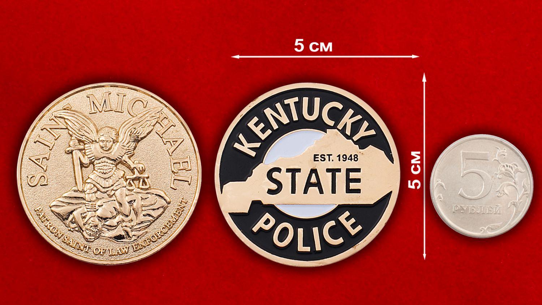 """Челлендж коин """"Покровитель полиции Кентукки Святой Майкл"""" - сравнительный размер"""