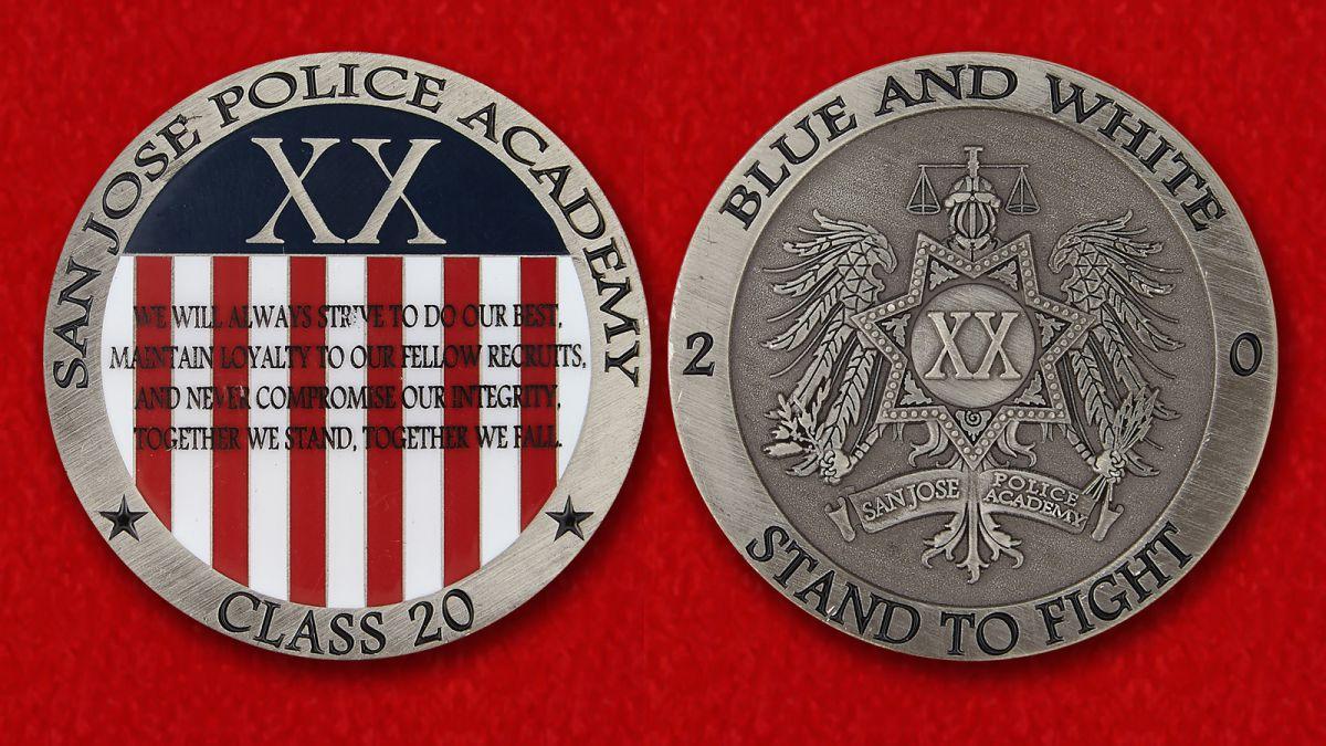 Челлендж коин Полицейской Академии в Сан-Хосе - аверс и реверс