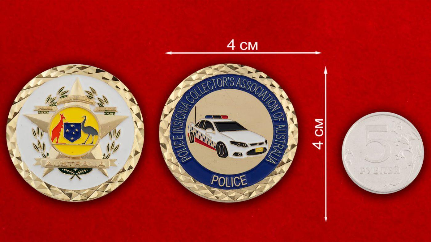 Челлендж коин полиции Австралии - сравнительный размер
