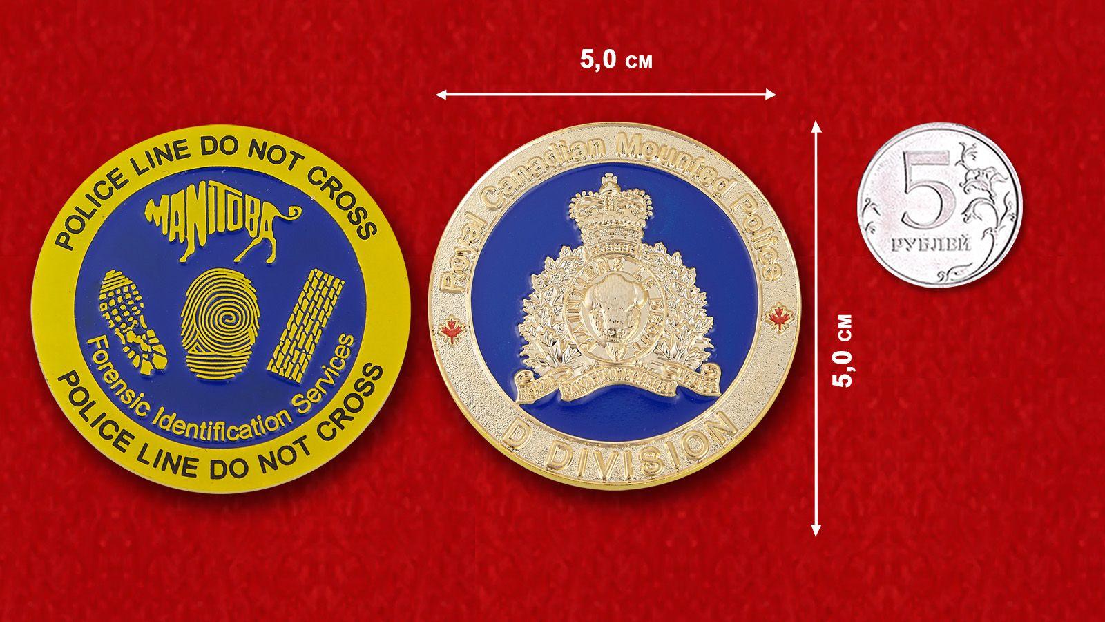 Челлендж коин полиции Манитобы - сравнительный размер