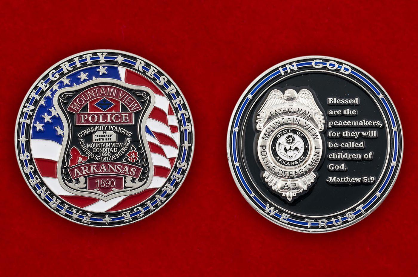 Челлендж коин полиции Маунтин-Вью, штат Арканзас - аверс и реверс