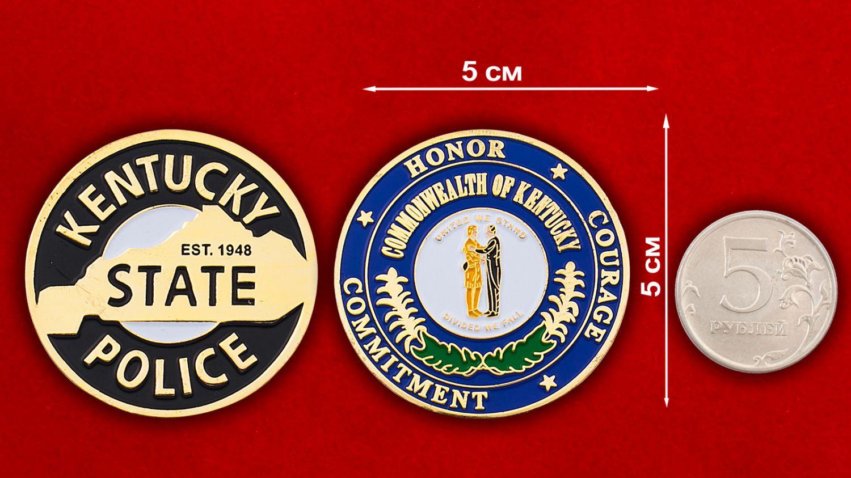 Челлендж коин полиции штата Кентукки - сравнительный размер