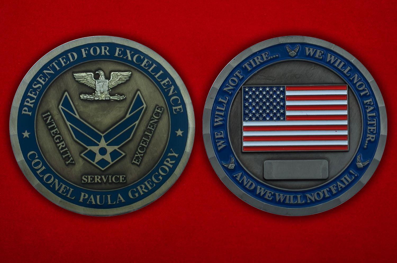 """Челлендж коин """"Полковнику ВВС США Паулю Грегори"""" - аверс и реверс"""