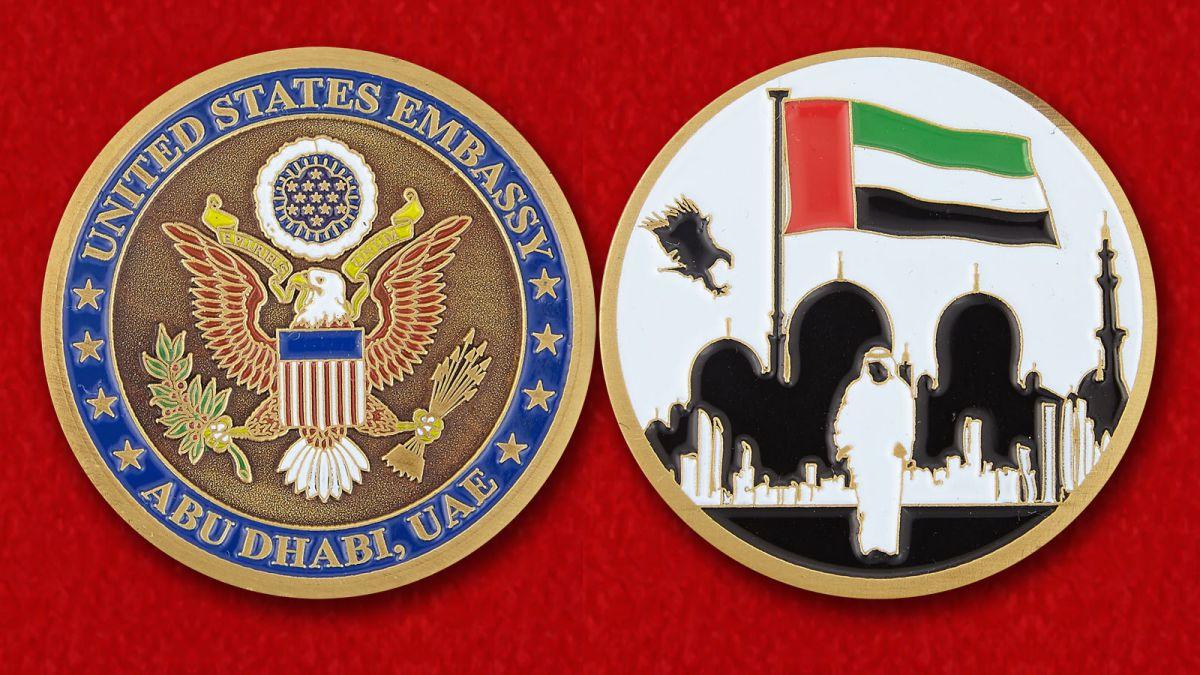 Челлендж коин Посольства США в Абу-Даби - аверс и реверс