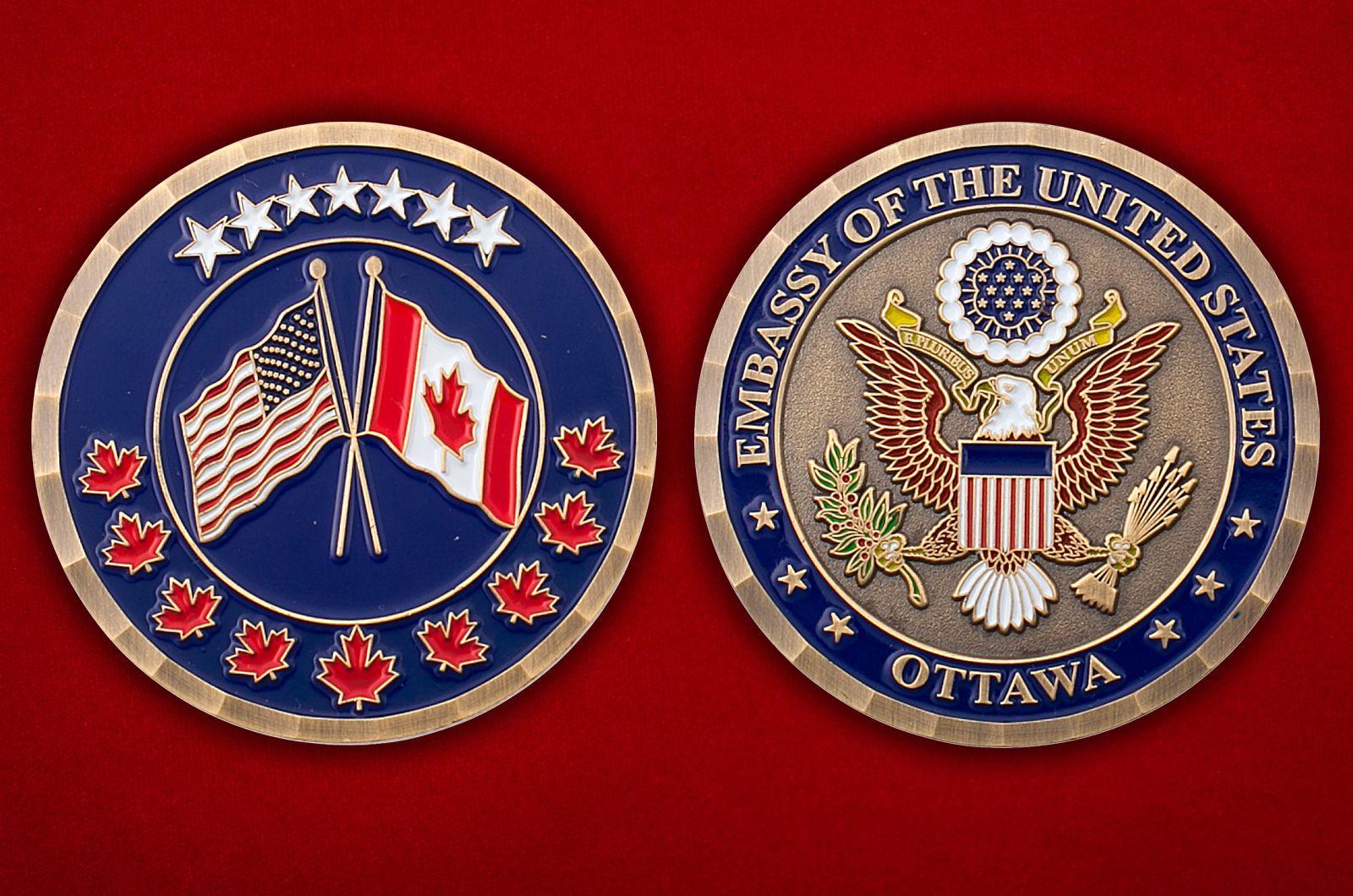 Челлендж коин Посольства США в Канаде - аверс и реверс