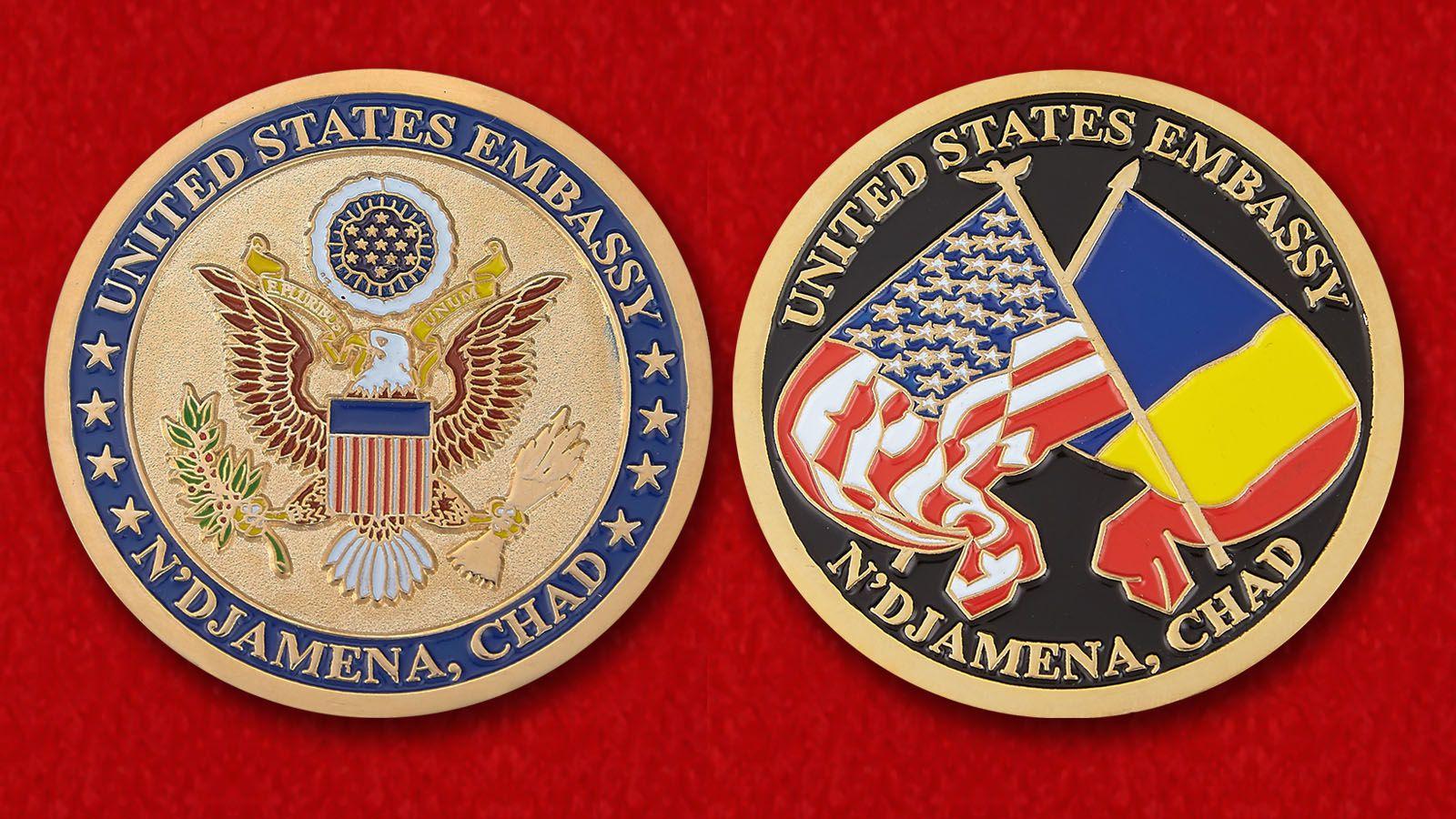 """Челлендж коин """"Посольство США в Нджамене"""" = аверс и реверс"""
