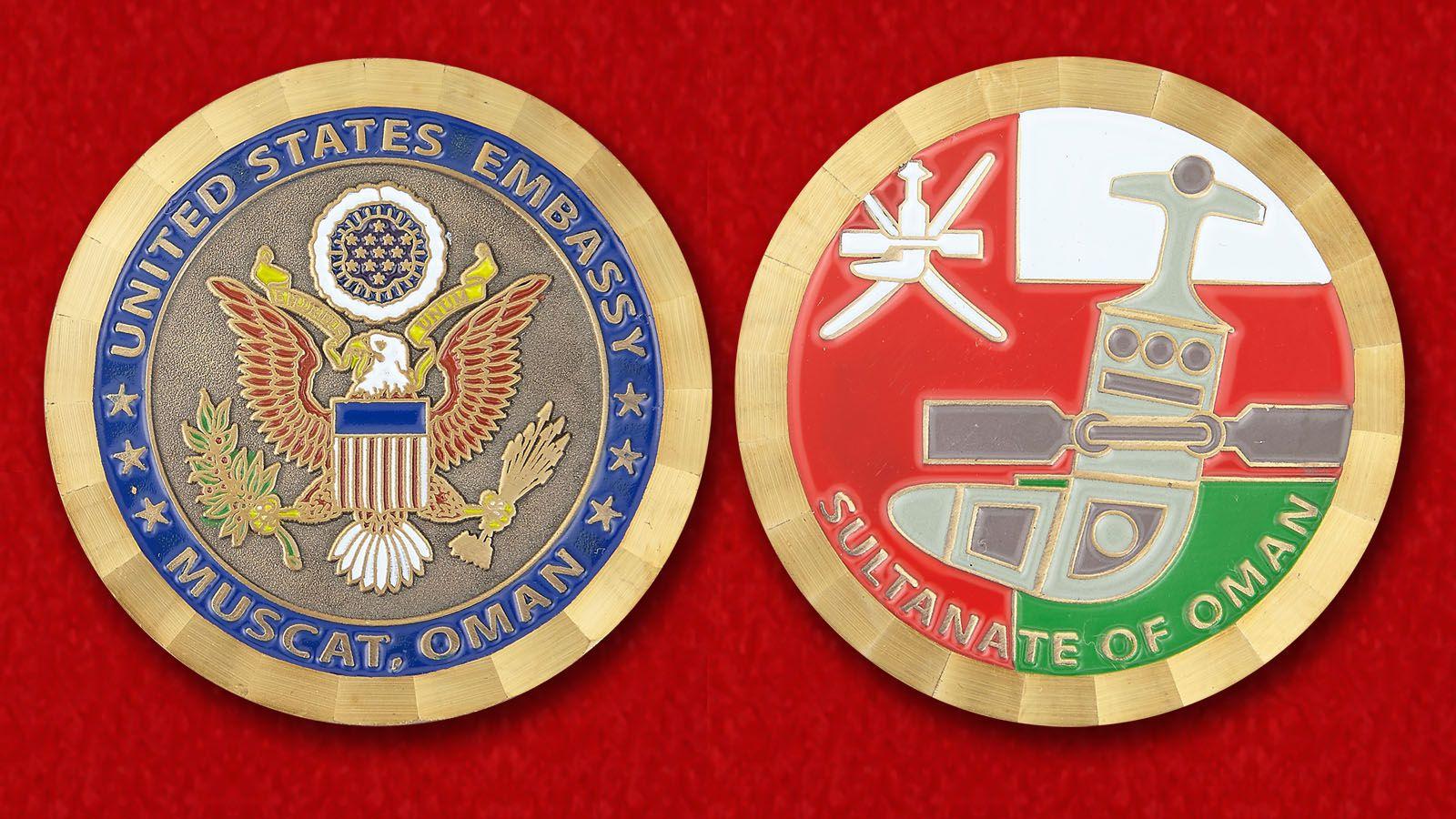 """Челлендж коин """"Посольство США в Омане"""" - аверс и реверс"""