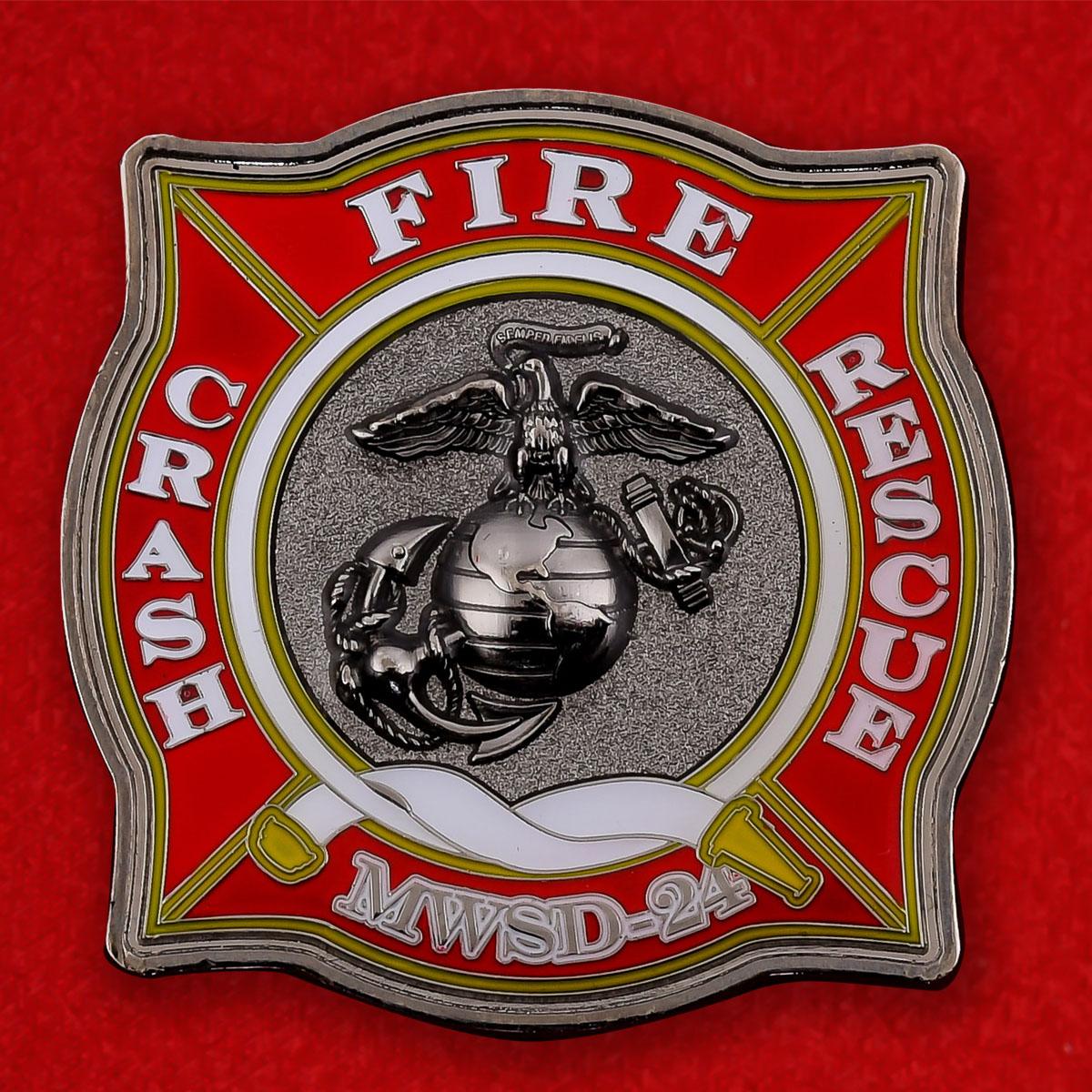 """Челлендж коин """"Пожарно-спасательная группа 24-го крыла авиации Корпуса Морской пехоты США"""""""