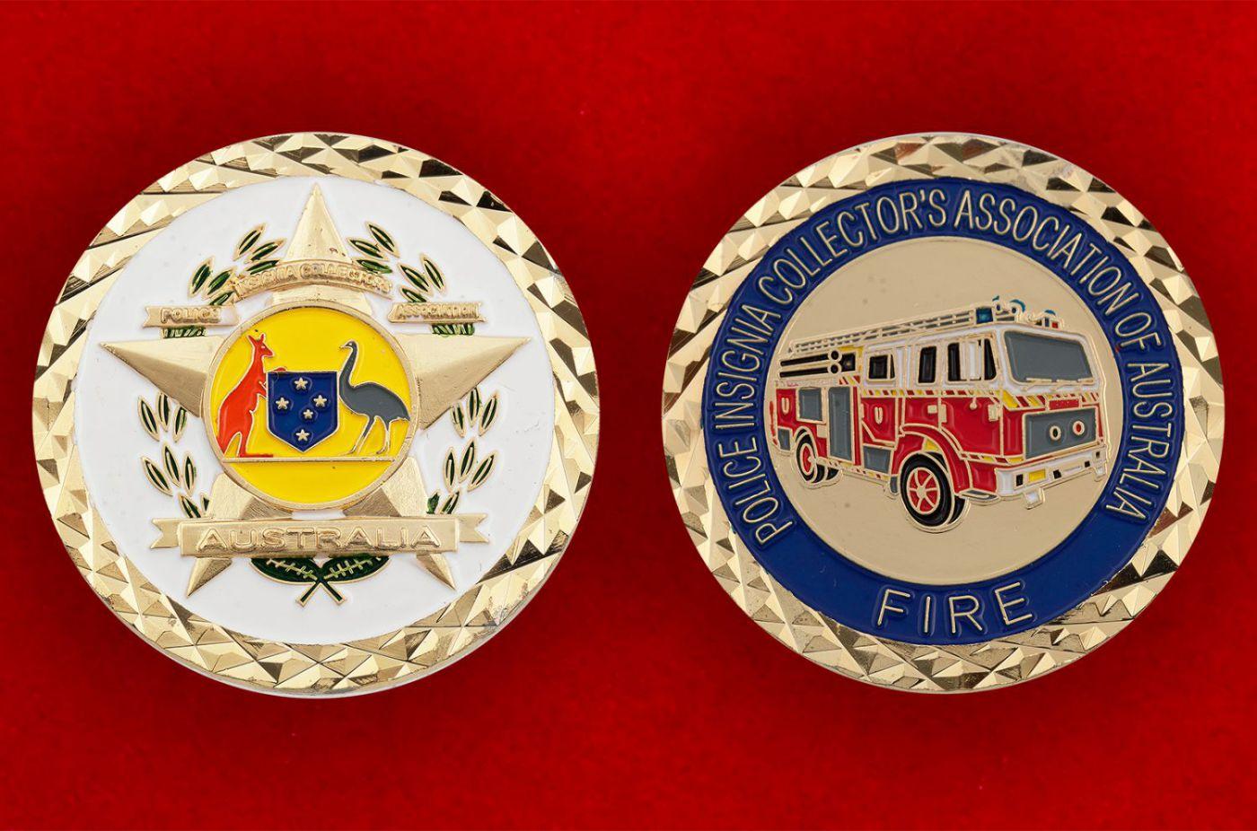Челлендж коин Пожарной охраны Австралии - аверс и реверс