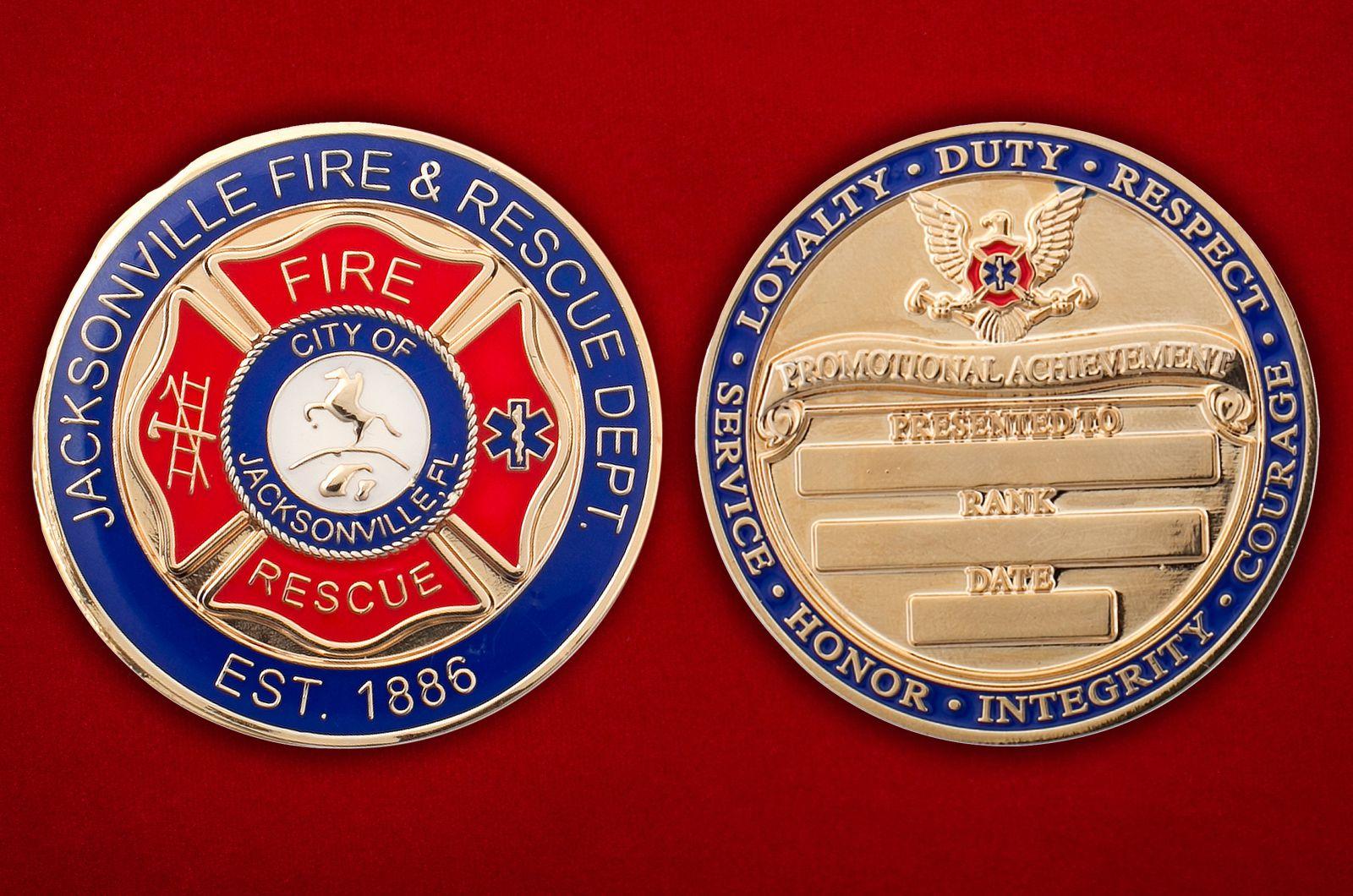 Челлендж коин Пожарной охраны Джэксонвилла (Флорида) - аверс и реверс