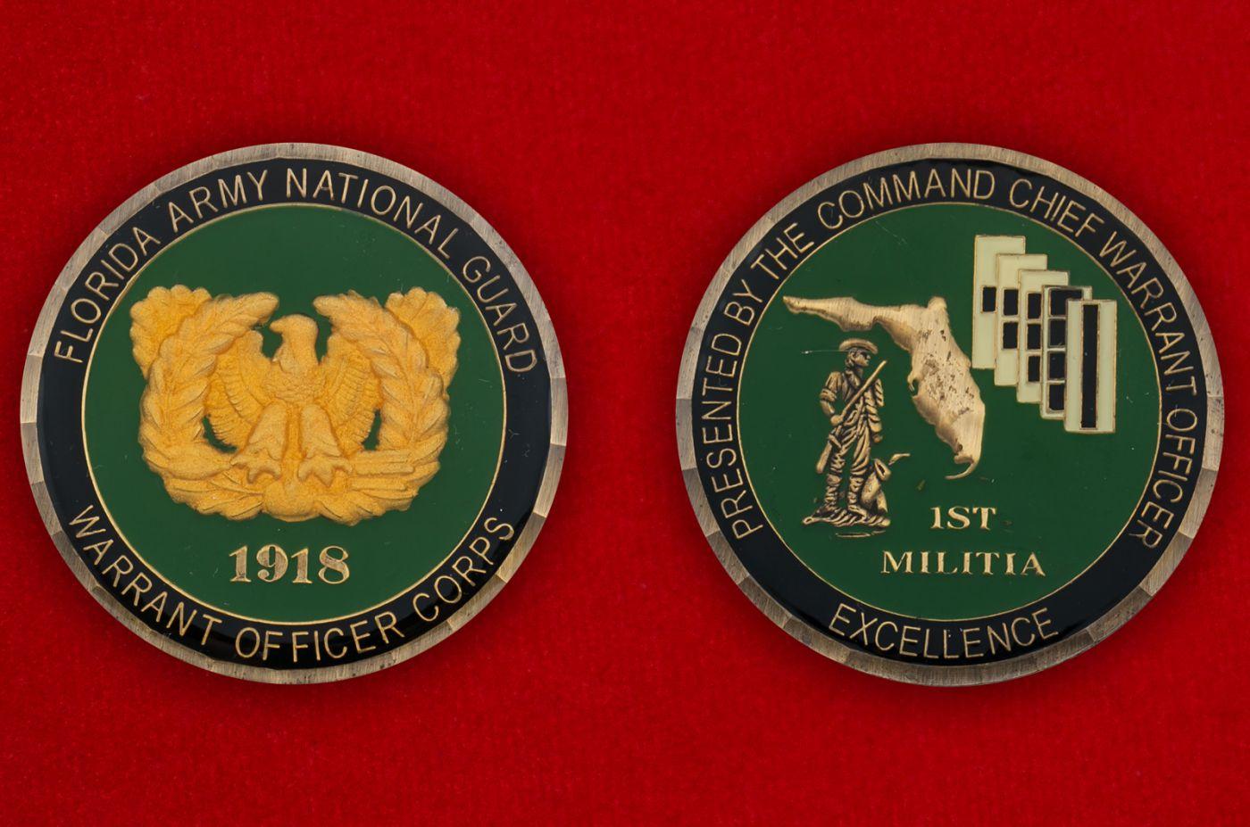 Челлендж коин прапорщика 1-й бригады ополчения Национальной гвардии США (Штат Флорида) - аверс и реверс