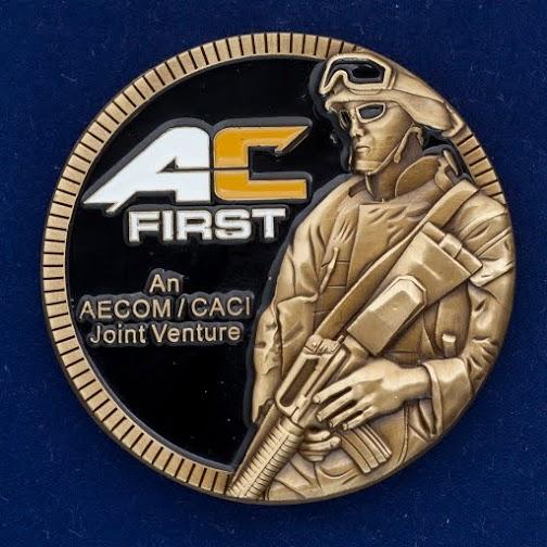 "Челлендж коин ""Предприятие по техническому оснащению армии США  AECOM-CACI"""