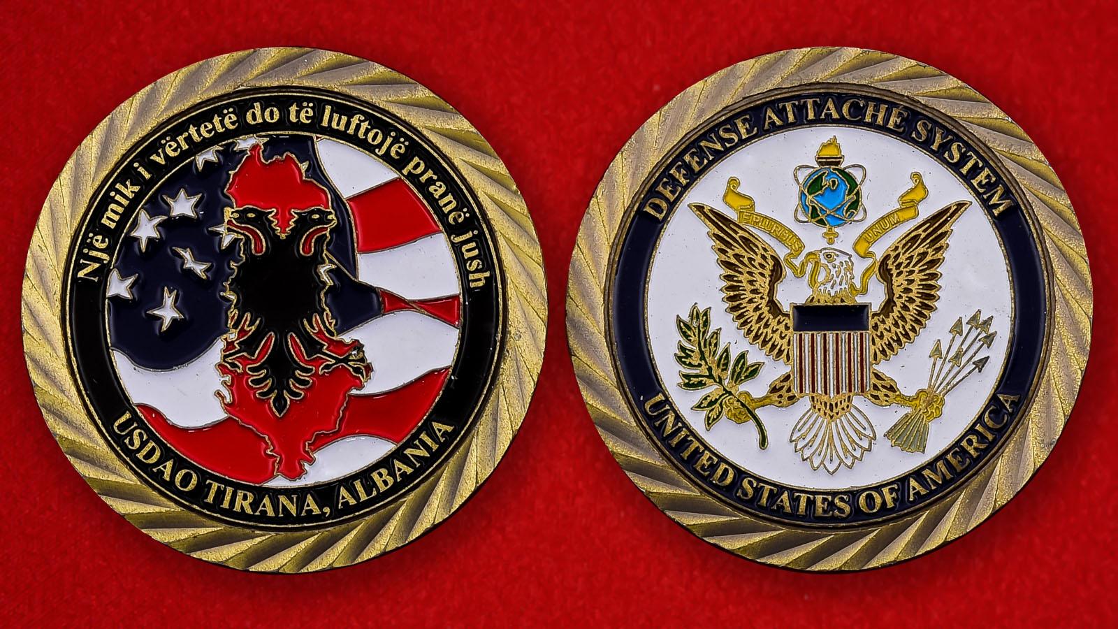 """Челлендж коин """"Представительство военного атташе США в Тиране, Албания"""""""