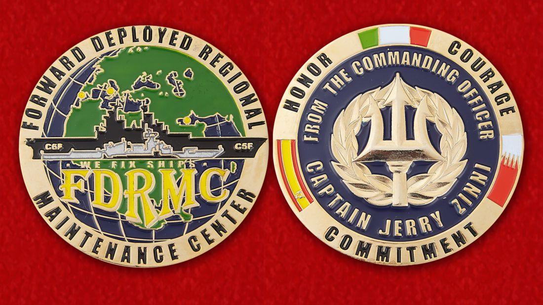 """Челлендж коин """"Региональному центру технического обслуживания ВМС США от командира - капитана Джерри Зунни"""" - аверс и реврес"""