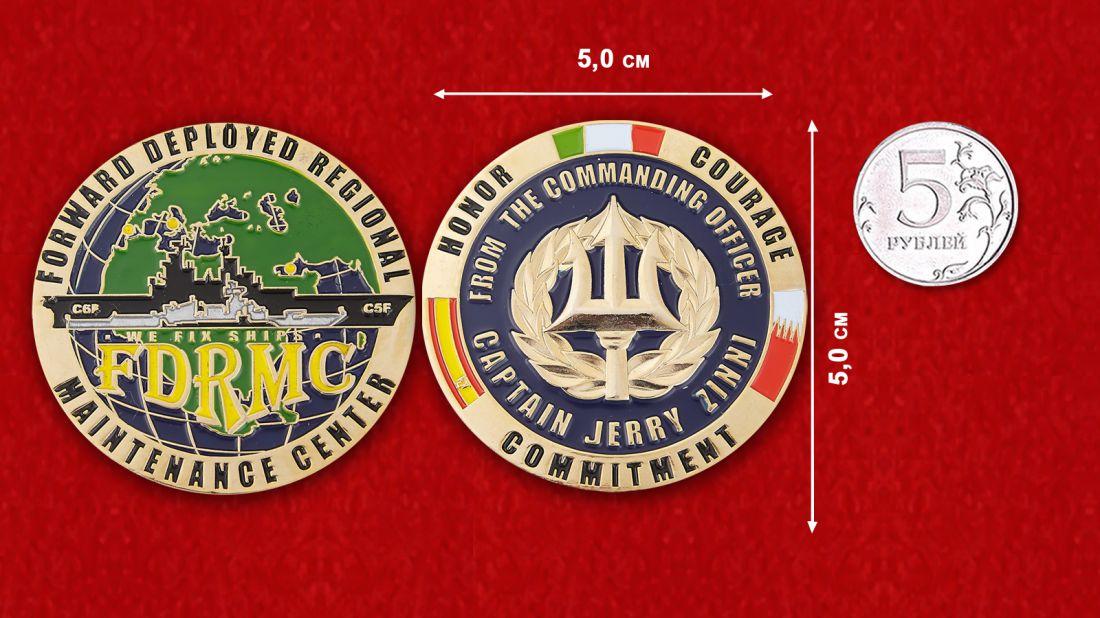 """Челлендж коин """"Региональному центру технического обслуживания ВМС США от командира - капитана Джерри Зунни"""" - сравнительный размер"""