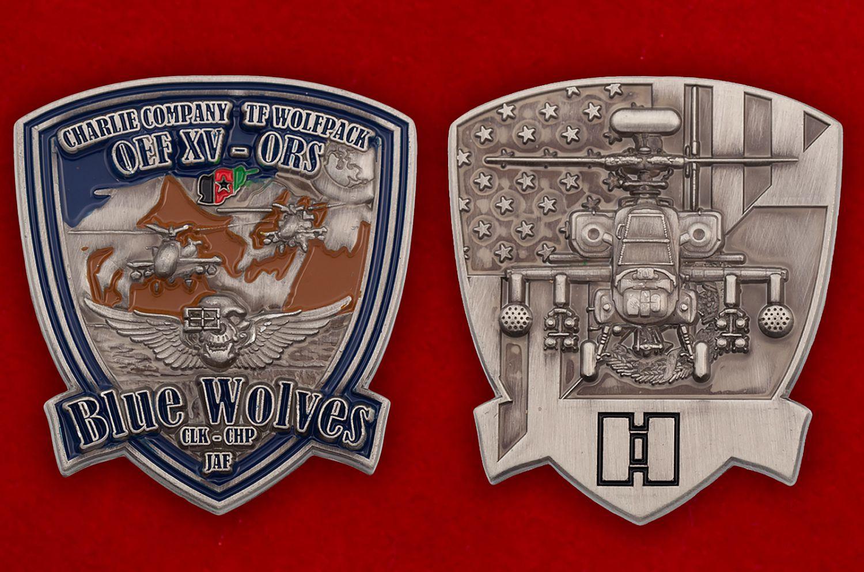 "Челлендж коин ""Роте Чарли 1-го батальона 61-го Пехотного полка за Операцию Несокрушимая Свобода"" - аверс и реверс"