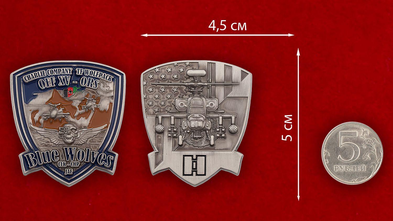 """Челлендж коин """"Роте Чарли 1-го батальона 61-го Пехотного полка за Операцию Несокрушимая Свобода"""" - сравнительный размер"""