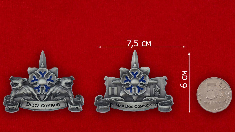 """Челлендж коин роты """"Дельта"""" 16-го инженерного батальона Армии США - сравнительный размер"""