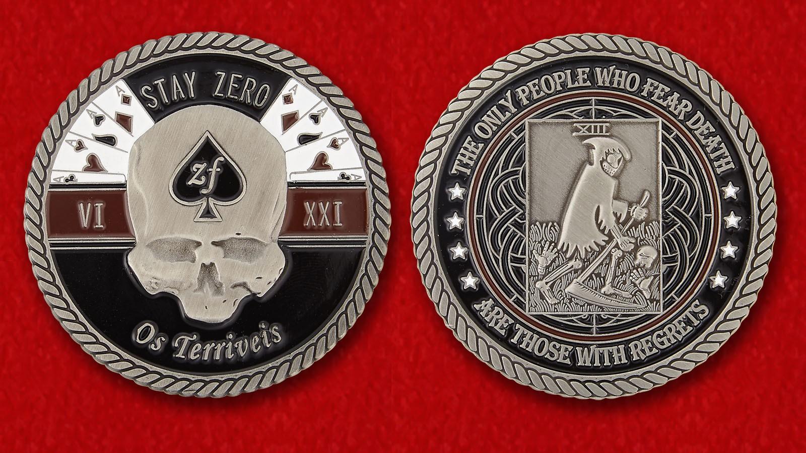 """Челлендж коин с девизом """"Ужасные"""" 32-го батальона в Родезии - обе стороны"""
