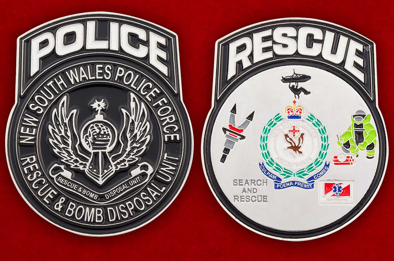 Челлендж коин саперов полиции Нового Южного Уэльса (Австралия) - аверс и реверс