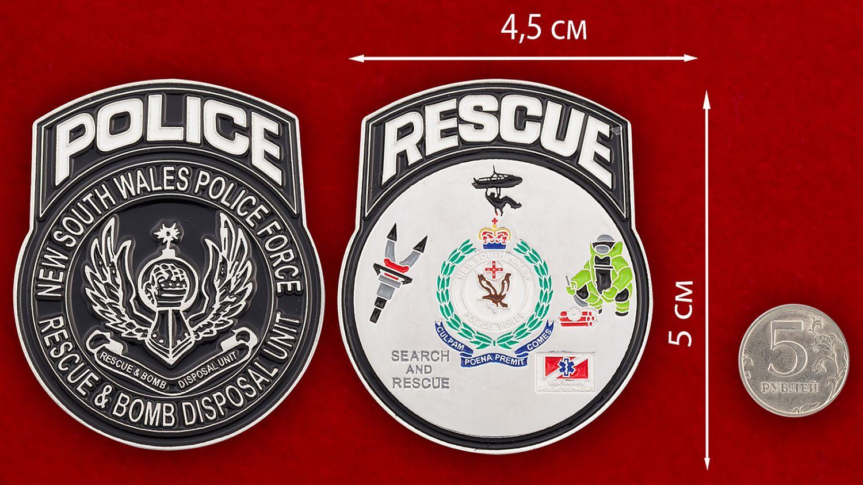 Челлендж коин саперов полиции Нового Южного Уэльса (Австралия) - сравнительный размер