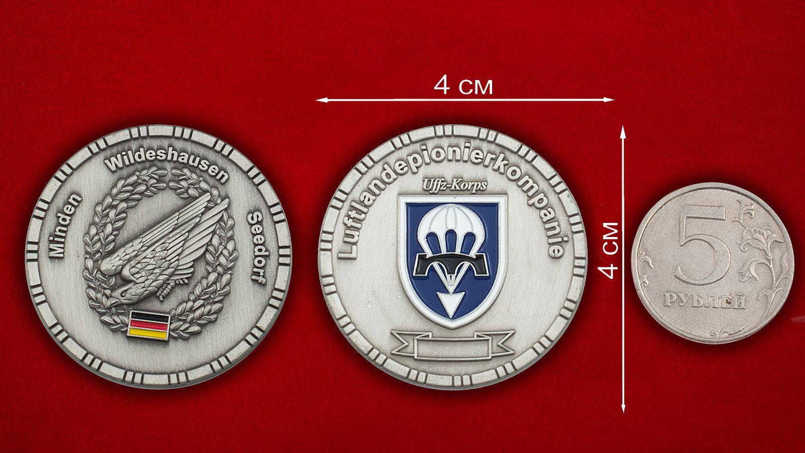 Челлендж коин саперов ВДВ Германии - сравнительный размер