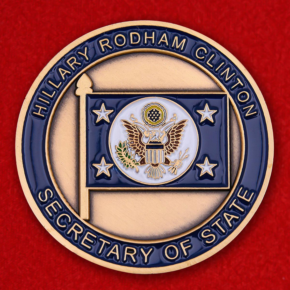 "Челлендж коин ""Секретарь Госдепартамента США Хиллари Клинтон"" - оборотная сторона"